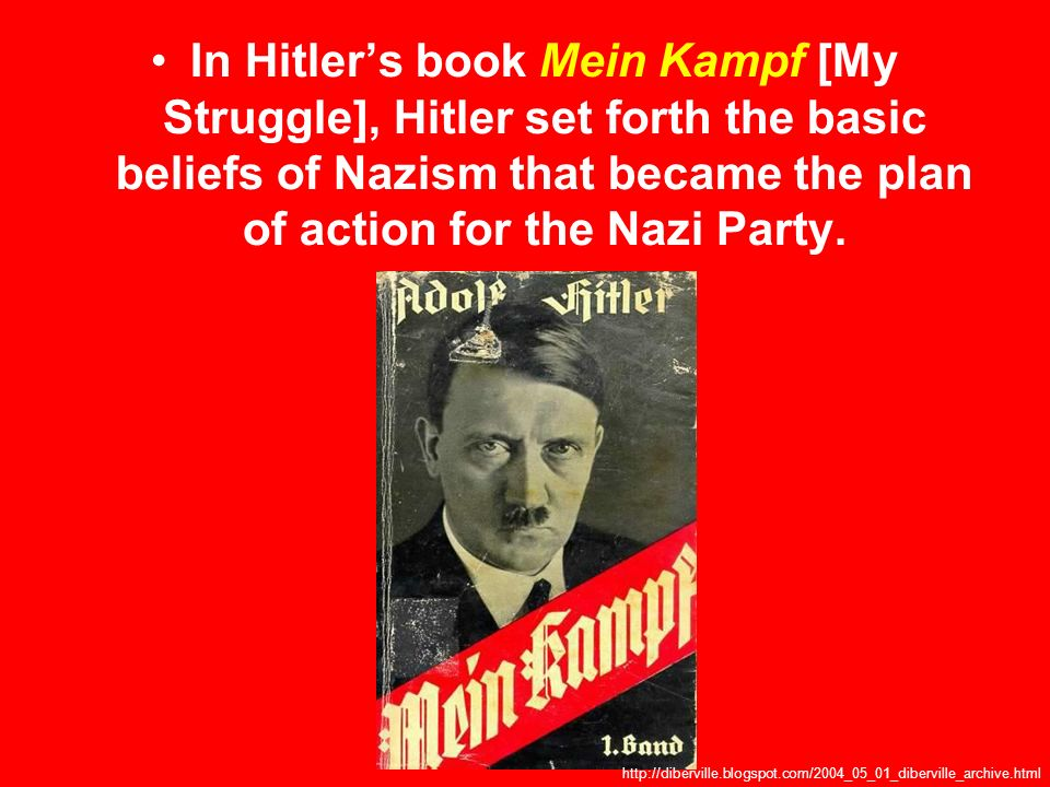 In Hitler's book Mein Kampf [My Struggle], Hitler set forth the basic beliefs of Nazism that became the plan of action for the Nazi Party.